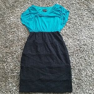 Teal and black lace dress sz 10